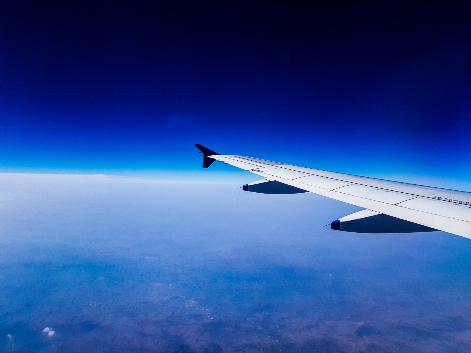 Passenger Jet Wing in Flight