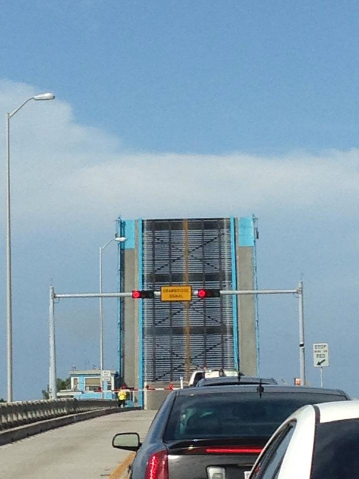 Waiting on a drawbridge to come down at Anna Maria Island
