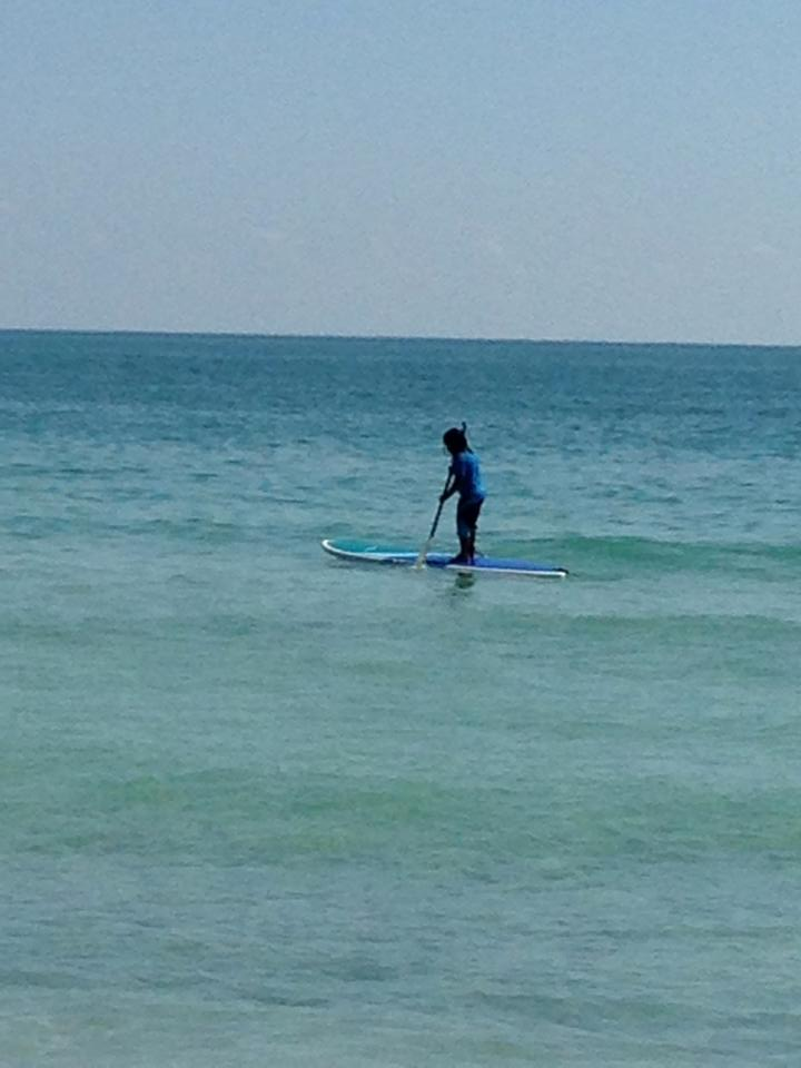 Kids love SUP boarding too — and they stay on it much better!
