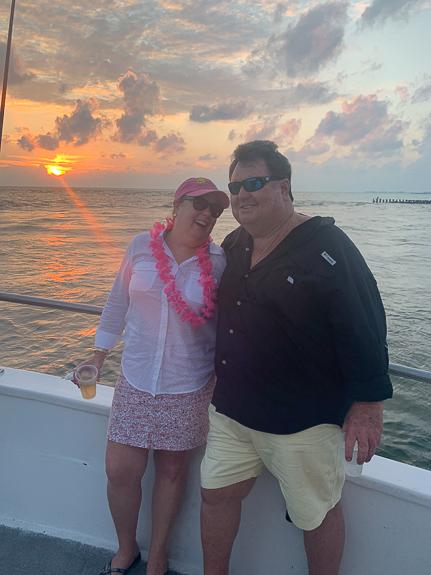Enjoying the sunset on the Sunset Cruise